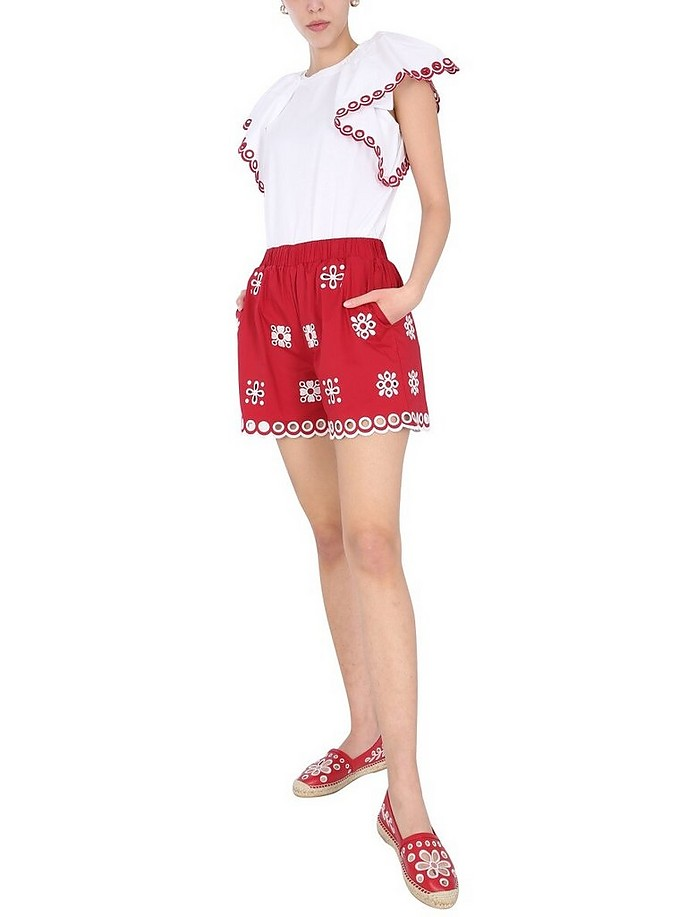 Crew Neck T-Shirt With Sangallo Embroidered - RED Valentino