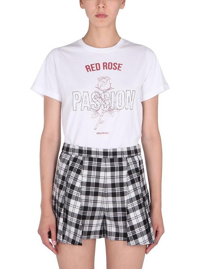 White Crew Neck T-Shirt - RED Valentino