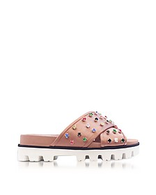 Cammeo Canvas Slide Sandals w/Crystals - RED Valentino