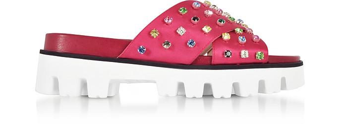Azalea Canvas Slide Sandals w/Crystals - RED Valentino