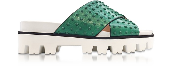 Mint Green Leather Slide Sandals w/Studs - RED Valentino