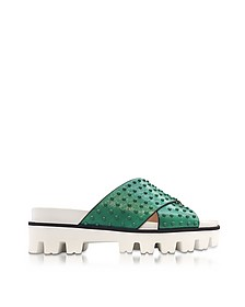 Mint Green Leather Slide Sandals w/Studs - RED Valentino / レッド ヴァレンティノ