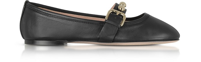 Black Leather Flat Ballerinas w/Buckle and Studs - RED Valentino
