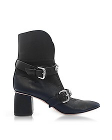 Black Leather Heel Booties w/Buckles and Studs - RED Valentino / レッド ヴァレンティノ