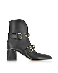 Black Leather Heel Booties w/Buckles and Studs - RED Valentino