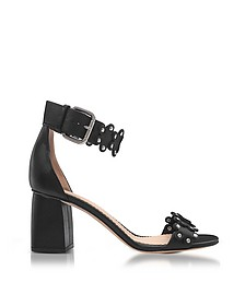Black Studded Leather Heel Sandals - RED VALENTINO