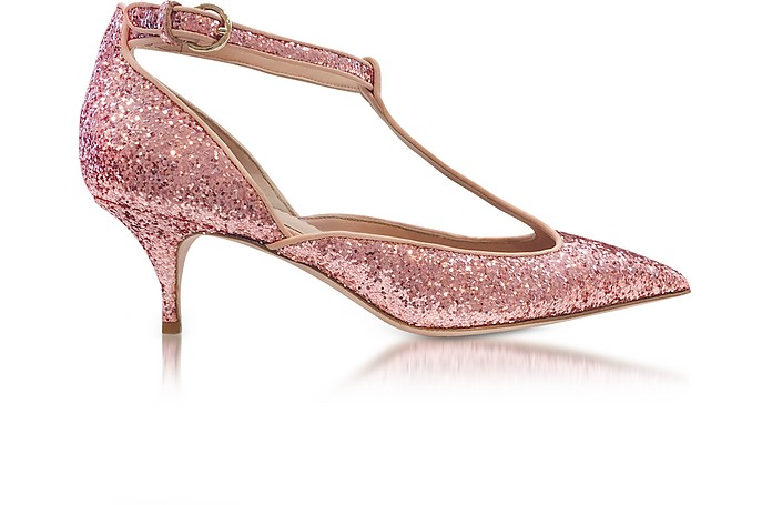 RED Valentino Designer Shoes, Cammeo Glitter and Nude Leather Kitten Heel Pumps
