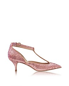 Cammeo Glitter and Nude Leather Kitten Heel Pumps - RED Valentino