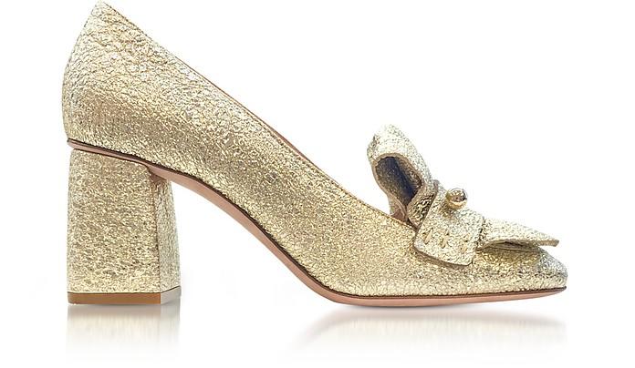 Platinum Crackled Metallic Leather Heel Pumps - RED Valentino