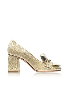 Platinum Crackled Metallic Leather Heel Pumps - RED Valentino