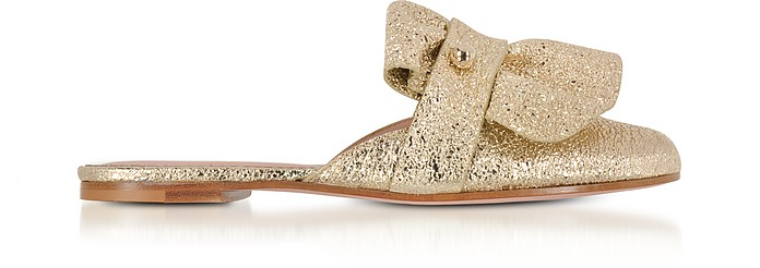 RED Valentino Designer Shoes, Platinum Crackled Metallic Leather Flat Mules
