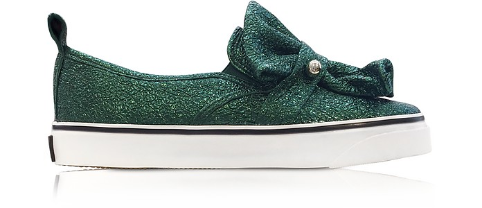 Dark Green Crackled Metallic Leather Slip On Sneakers - RED Valentino