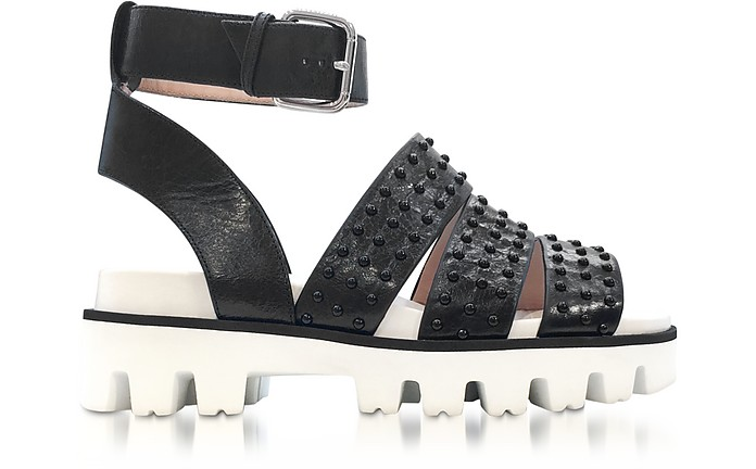 Black Leather Flat Sandals w/Studs - RED Valentino