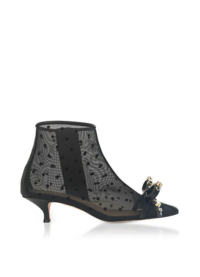 Polka-Dots Mesh and Leather Mid-Heel Ankle Boots - RED Valentino