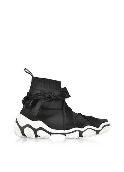 Black Nylon High Top Sneakers w/Bow - RED Valentino