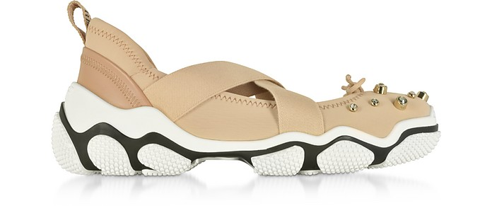 Sneakers Criss Cross en Nylon Nude avec Cristaux - RED Valentino