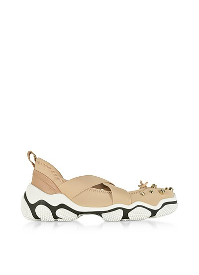 Nude Criss Cross Sneakers w/Crystals - RED Valentino