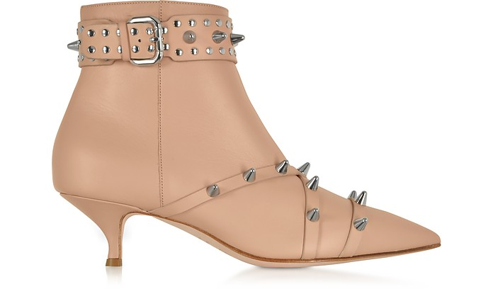 Nude Leather Mid-Heel Ankle Boots - RED Valentino