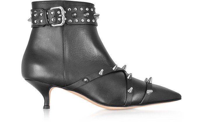 Black Leather Mid-Heel Ankle Boots - RED Valentino