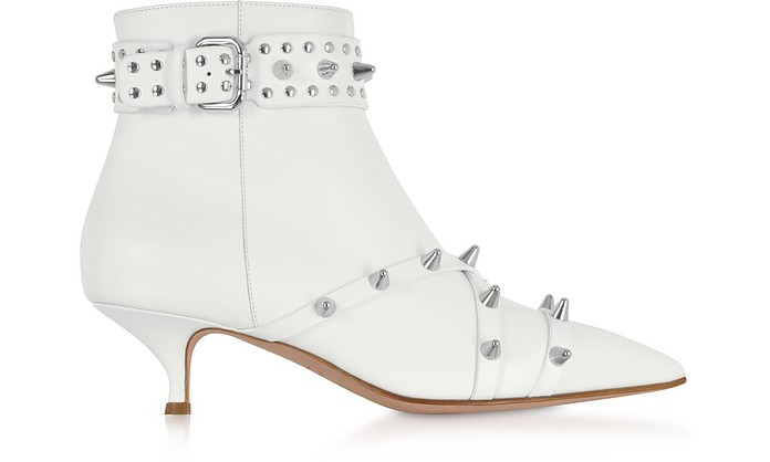 Milk Leather Mid-Heel Ankle Boots - RED VALENTINO