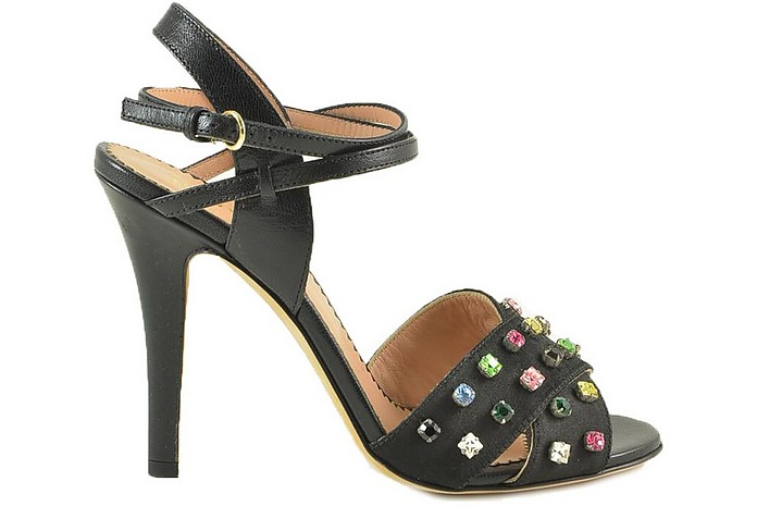 Black Leather High Heel Sandals w/Multicolor Crystals - RED VALENTINO