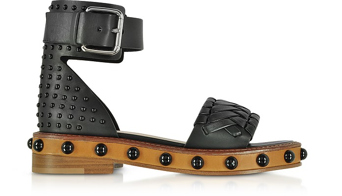 Black Studded Leather Flat Sandals - RED Valentino