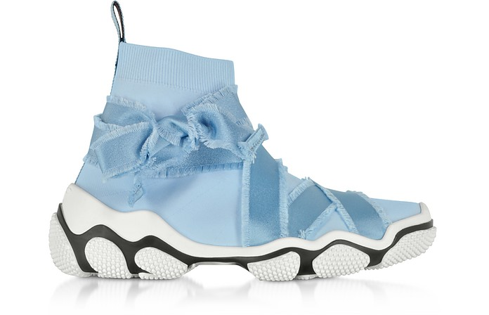 Sky Blue Nylon Sock Sneakers - RED Valentino