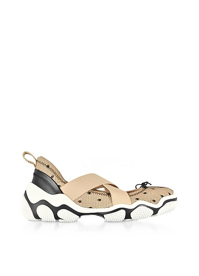 Nude Lace and Nylon Criss Cross Sneakers - RED Valentino