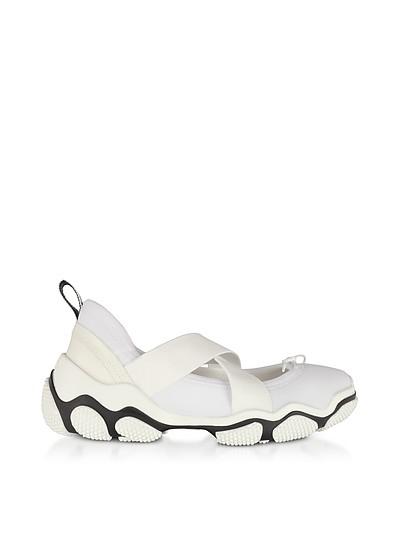 Pure White Nylon Criss Cross Sneakers - RED Valentino