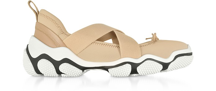 Nude Nylon Criss Cross Sneakers - RED Valentino