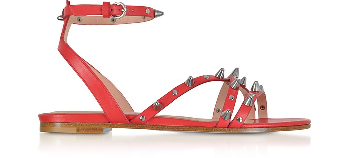 Flame Red Studded Leather Flat Sandals - RED Valentino / レッド ヴァレンティノ