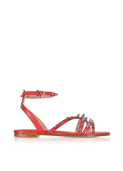Flame Red Studded Leather Flat Sandals - RED Valentino