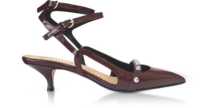 Wine Leather Mid-Heel Pumps - RED Valentino