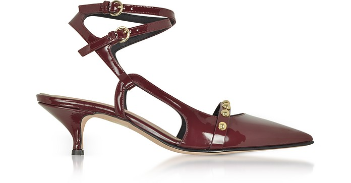 Wine Leather Mid-Heel Pumps - RED Valentino