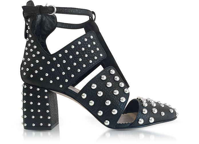 Black Leather Studded Boots - RED Valentino
