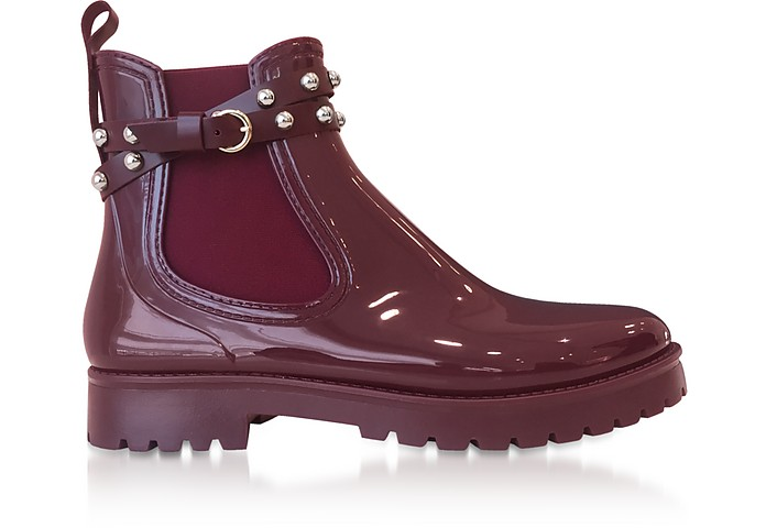 Wine Studded Rainboots - RED Valentino