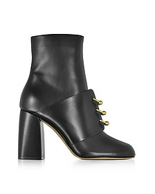 Booties in Pelle Nera con Anelli Piercing Oro - RED Valentino