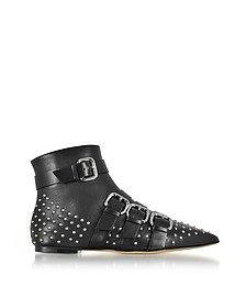 Black Leather Pointy Booties w/Buckles and Studs - RED Valentino