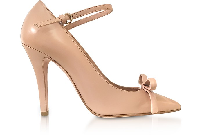 Nude Patent Leather Bow Pumps - RED Valentino