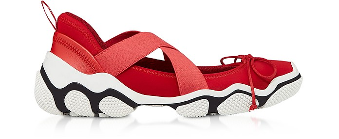 Amarillo Nylon Criss Cross Sneakers - RED Valentino