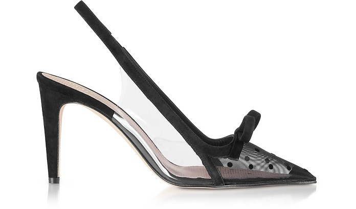 Black Sandie Mesh Slingback Pumps - RED Valentino