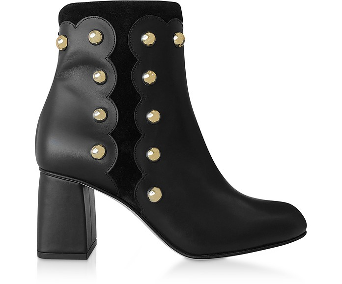 8f9281d8ddd Black Leather and Suede Studded Boots