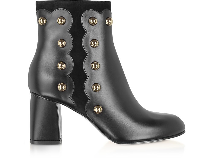 Black Leather and Suede Studded Boots - RED Valentino