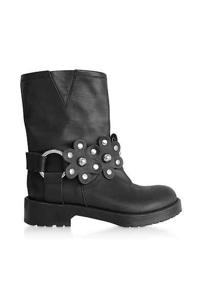 Black Leather Studded Biker Boots - RED Valentino
