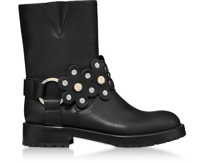 Black Leather Flower Puzzle Biker Boots - RED Valentino / レッド ヴァレンティノ