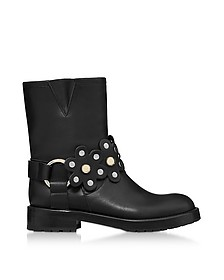 Black Leather Flower Puzzle Biker Boots