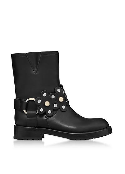 Black Leather Flower Puzzle Biker Boots - RED Valentino