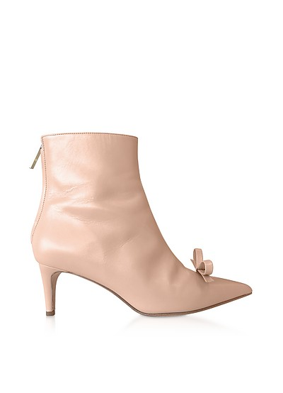 Skin Leather Bow Boots - RED Valentino