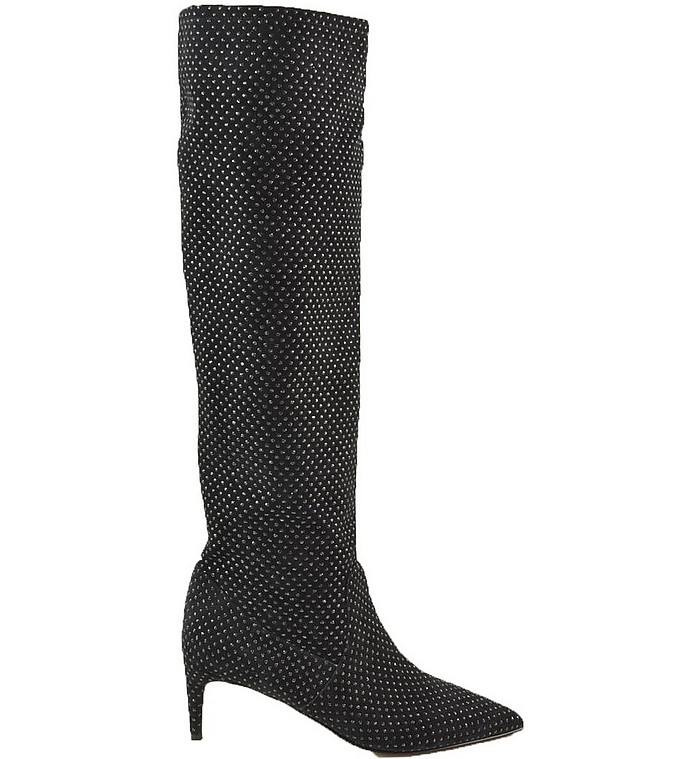 Black Allover Crystals To-The-Knee Boots - RED VALENTINO
