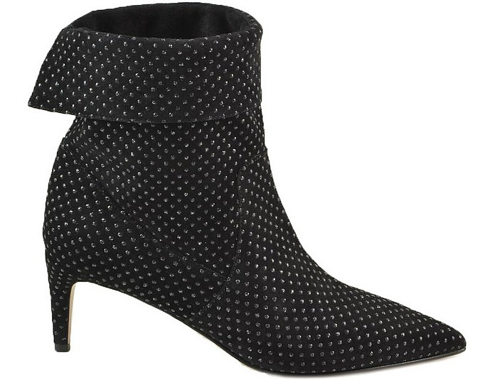 Black Allover Crystals Fold-Over Top Booties - RED VALENTINO
